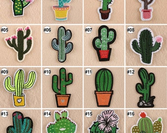 1/10PCS Embroidered Iron On Patches Cactus Fabric DIY Applique Craft Sewing