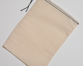 100 6x8 Black Hem Cotton Muslin Black Drawstring Bags