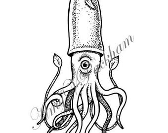 Squid Tattoo Design