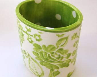 Whimsical pottery Utensil Holder - Vase home decor, kiwi lime green ceramic OVAL vessel hand-painted colorful floral