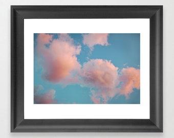 Pink Clouds Print Photo, Cotton Candy Clouds, Teal Sky Photo, Nursery Inspirational Decor, sky print clouds