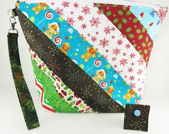 """Knitting Project Bag - Large Zipper Knitting Project Bag """"Christmas Past 1"""" (Wedge Style): with detachable handle! (10"""" x 13"""" x 5"""" base) (V)"""