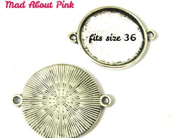 Connectors frame in silver for cabochon setting fits 25 mm diameter 5 pcs