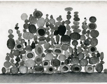 Original mixed media drawing - Stones 2