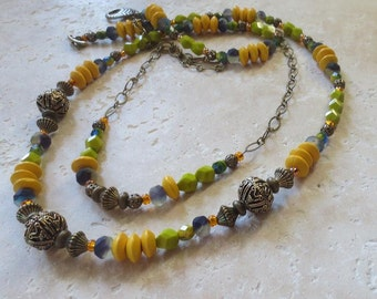 Bright Stride Necklace, Brass Beads Necklace, Wood Beads Necklace