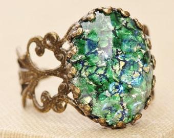 Vintage Emerald Fire Opal Ring,RARE Green Fire Opal Glass,Adjustable Brass Filigree Ring,Weddings Bridesmaids Jewelry,Birthstone Jewelry