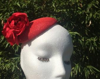 Red Fascinator Hat with Handmade Silk Flowers