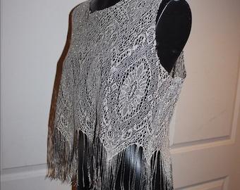 Vintage Metallic Beautiful Knit with fringe boho chic glamorous rock