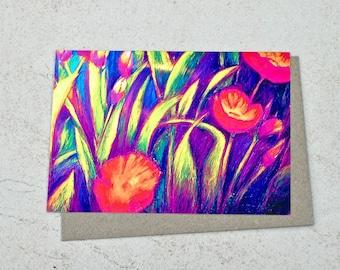 Horizontal Poppies in Purple Greeting Card