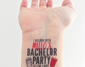 Custom Bachelor Party Temporary Tattoos - Keg & Solo Cup