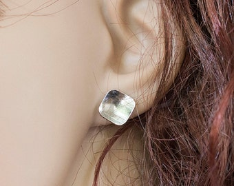 Minimalist jewelry Modern Earrings, Square Disc Studs, Post earrings, Sterling Silver, Handmade Earrings, Stud Earrings, Gift For Her