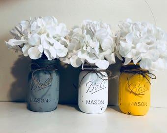 Mason jars decor  set f 3 with flowers ! Wedding decor, fall flowers decor, seasonal decor! Jars decor!