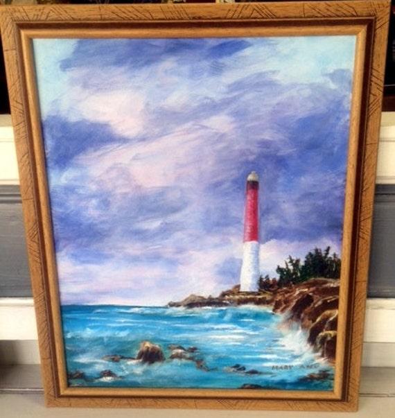 Lighthouse Oil Painting framed