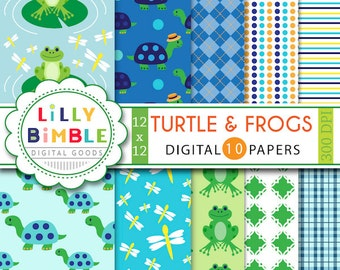 Turtles and Frogs digital scrapbook papers for invites, card, design and crafts frog digital paper DOWNLOAD