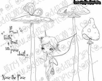 Digi Stamp Digital Instant Download Stamps B-Cute Whimsical Big Eye Fairy w/ Sentiments ~ Nixie the Pixie Image No. 217 by Lizzy Love