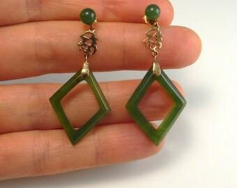 Green Nephrite Jade Chinese Gold Drop Earrings Hand Carved Jade Earrings 14K Vintage Chinese Jewelry Chandelier Earrings Handmade Artisan