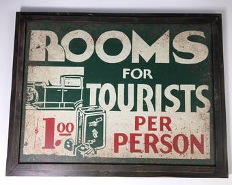Rooms For Tourists Vintage Faux Tin Framed Cabin Sign