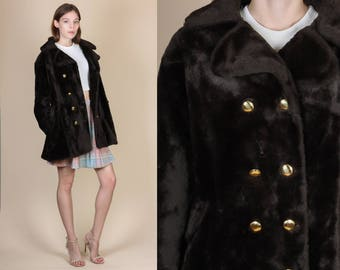Vintage Faux Fur Jacket - Medium // 60s 70s Brown Double Breasted Coat