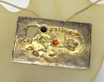 Brutalist Necklace - HUGE - Artist Handmade Sterling Pendant - Set With 5 Gemstones - Heavy Silver - A True Work Of Art