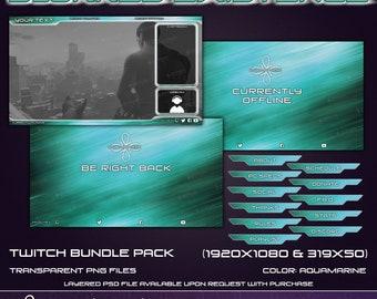 Blurred Existance - Twitch Overlay Bundle Pack - Aqua
