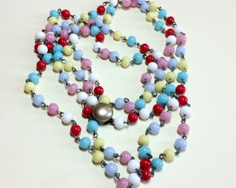 Vintage multicolored glass bead long necklace, 58 inches, glass beaded links, flapper length necklace, colorful necklace, 1940s-50s