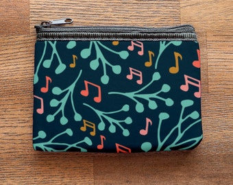 Music Notes and Branches Neoprene Coin Purse or Zipper Pouch