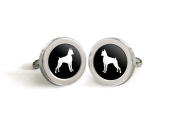 Boxer Dog Silhouette Cufflinks for Him - Mod Dog Custom Tuxedo Cuff Links in your choice of color