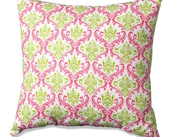 Pink and Green Damask Throw Pillow