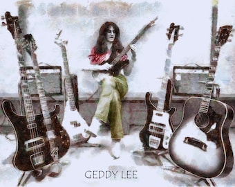 Vintage Geddy Lee RUSH 100% Cotton Canvas Print Using UV Archival Inks Stretched & Mounted