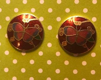 Sterling Silver Enamel Butterfly Round Post Stud Earrings
