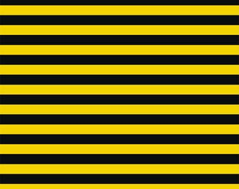 """Black yellow 1/2"""" stripes 1/2 yard cotton lycra knit made in US new"""