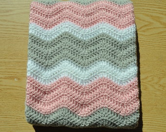 Pink, Gray and White Ripple Baby Blanket/ Chevron Baby Blanket/ Crochet Baby Blanket/ Baby Girl Blanket/ Pink Crochet Baby Blanket