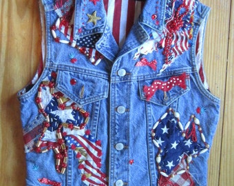 OOAK Embellished Vintage Denim Vest in Patriotic Colors THESE COLORS Don't Run -Fully Lined and Beaded-Upcycled Repurposed Recycled Clothing