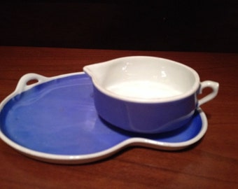 Vintage ART DECO CZECHOSLAVAKIA Blue White Luncheon Set Art Pottery
