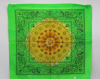 Tie Dye Bandana, Trippy Green handkerchief, OOAK  Hippie Fashion