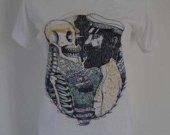Women's Skeleton and Sailor Vintage Tattoo T-Shirt - UK 12 14 16 - Skull Horror Anchor Alternative