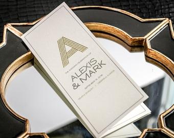 "Monogram Wedding Ceremony Program, Modern Programs, Black and Gold Stationery, Mitzvah Program - ""Modern Monogram"" Booklet Program - DEPOSIT"