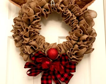 Christmas wreath, Rudolph wreath, Rudolph the red-nosed reindeer, Christmas burlap wreath, whimsical wreath