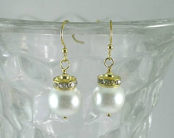 Elizabethan Pearl and Crystal Dangles #2 - Renaissance Earrings