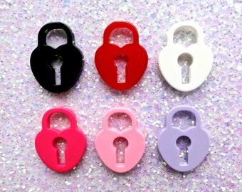 6 pcs - Multi Color Heart Lock Resin Flatback Cabochon or Charm Pendant - 31mm - 6 Colors -Kitsch - Kawaii - Decoden - Jewelry