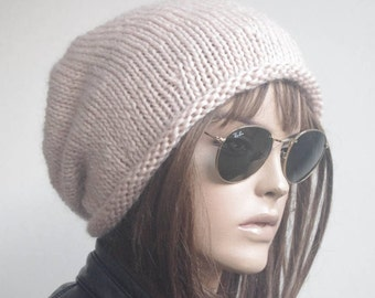 PURE WOOL winter hat hats POWDER Pink womens hats knit hat beanie women womens hats chemo hat slouchy hat knitted hat