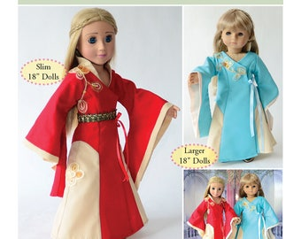 """Cersei Dress Pattern as Downloadable PDF, Comes in 2 sizes: for 18"""" American Girl and slim Carpatina dolls"""