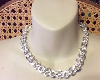 Vintage heavy metal roped links designer necklace.