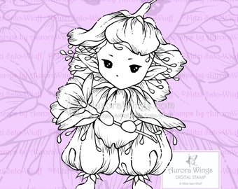 PNG Digital Stamp - Whimsical Cherry Blossom Sprite - Instant Download - digistamp - Fantasy Line Art for Cards & Crafts by Mitzi Sato-Wiuff