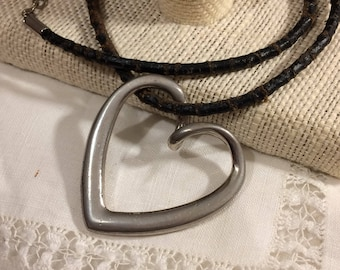 Vintage Silver Open Heart Pendant on Tattered Leather Cord Choker / Necklace