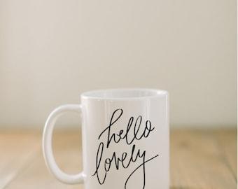 Ceramic Mug, Hello Lovely, couple, wedding gift, newlywed, engagement, wedding shower, anniversary