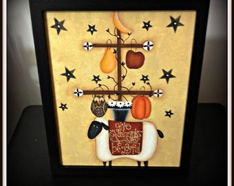 Primitive Fall Sheep 8 x 10 Framed Canvas Painting-Pumpkin-Moon-Stars-Home Decor Decoration