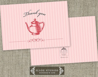 Bridal Tea - High Tea traditional Thank you Cards Printable. Pink, Blue or Yellow available for download TODAY.