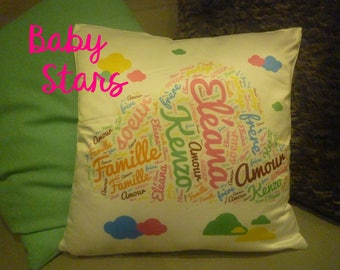Personalized pillow satin baby girl boy name clouds 35 cm