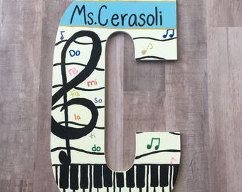 Music letters, music teacher gifts, teacher appreciation, teacher gifts, piano teacher gifts, music decor, music notes, music gifts